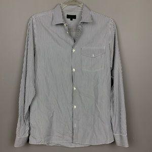 A.P.C. pinstriped blue button down shirt sz M